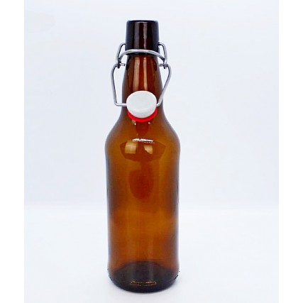 Бутылка стеклянная с бугельной крышкой, коричневая 1 литр