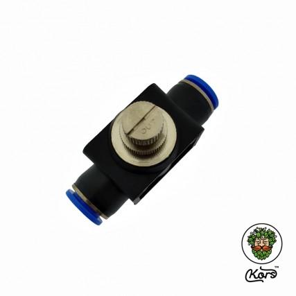 Игольчатый кран с пуш фитингом 12 мм.
